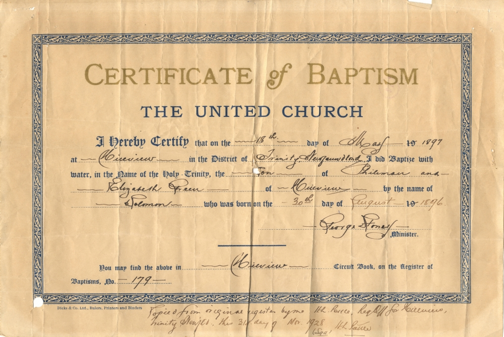 Birth And Baptism Certificates