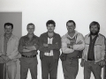 June Drover, Stewart Marsh, Av Drover, Willis Peddle, and Reg Spurrell. Volunteer Firefighters, 1990