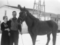 May and Ted Vey and horse Long Beach c1954