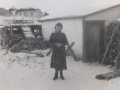 Island Cove Beluah Spurrell beside George Smith shed and flake_Annie Smith