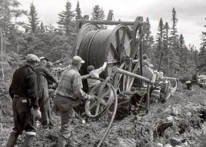 Laying the telephone cable in Hillview in 1955. The cable is underground from Adeytown to Hillview.