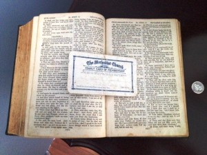 Charlie and Rachael Green St.  Jones Without Family Bible and Charlie's Church Methodist Membership card.  (Donated by Granddaughter Jennifer Sturge)