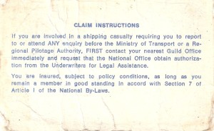 Leander Stringer 1926-1998 Insurance Card (reverse side)