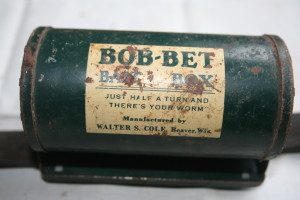 Vintage bait box used for trouting by Peter Shaw. Owned today by his grandson Gerald Hann.