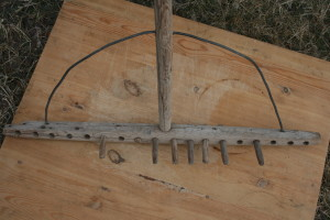 Wooden garden rake owned by Peter Shaw of Little Heart's Ease. Now owned by his Grandson Gerald Hann.