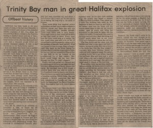 Trinity Bay man in Great Halifax Explosion