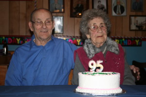 Caleb Churchill and his sister Doris Spurrell on her 95th birthday. (Photo credit: Lester Green)