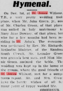 Wedding John Green_Evening telegram_Dec 6, 1913