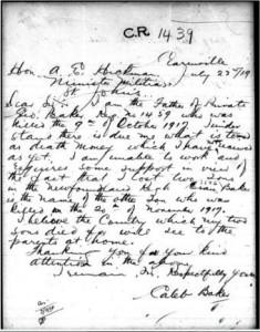 Letter from Caleb Baker