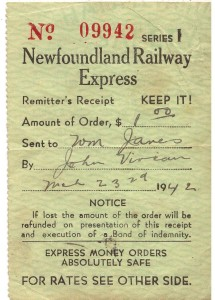 Newfoundland Railway Express receipt 1