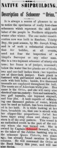 Schooner Orion_Captain Edmund Seward_Evening Telegram_May 15, 1889