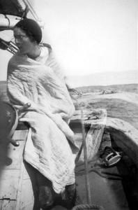 Signe Mills in motor boat