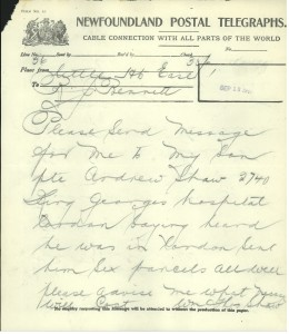 Telegraph sent by William Thomas  Shaw. (Source Library and Archives, Canada)
