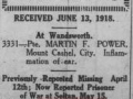 Casuality List Source Daily Star June 13 1918