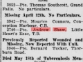Casuality list reported by Evening Telegram May 21 1918