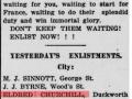 Eldred Churchill enlistment _Evening Telegram_May 2, 1918