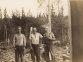 Walter Stacey (right) and two unknown men in lumberwoods c1940s (courtesy of Lester Green)
